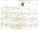 Letter from John W. Moore to his sister Mrs. John Weber (nee Mary Moore)