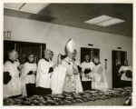 Photograph of St. Augustine Hall dedication and blessing of the crucifixes