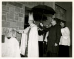Photograph of St. Augustine Hall dedication and blessing of the cornerstone